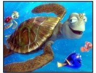 """Finding Nemo"" Movie Still: Marlin, Dory, and Crush"