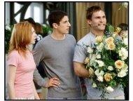 """""""American Wedding"""" Movie Still: Alyson Hannigan and Jason Biggs, Seann William Scott"""