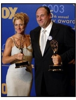 Edie Falco and James Gandolfini on the backtage at the 2003 Emmy Awards