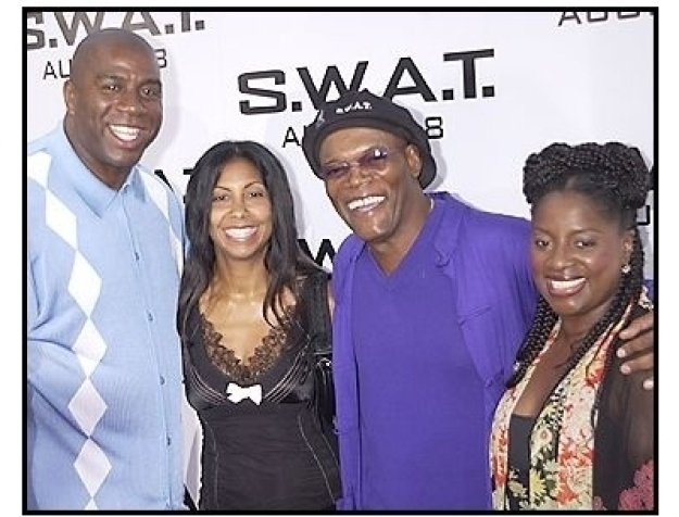 "Magic Johnson, wife cookie, Samuel L. Jackson and wife LaTanya at the ""S.W.A.T."" premiere"