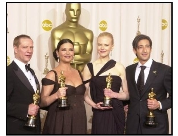 Academy Awards 2003 Backstage: Chris Cooper, Catherine Zeta-Jones, Nicole Kidman and Adrien Brody