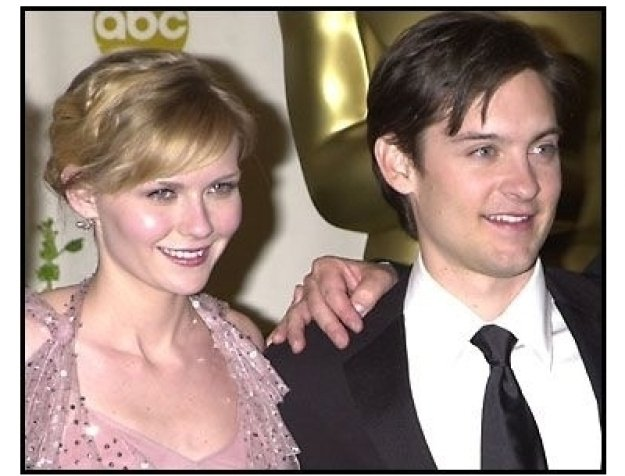 Kirsten Dunst and Tobey Maguire backstage at the 2002 Academy Awards