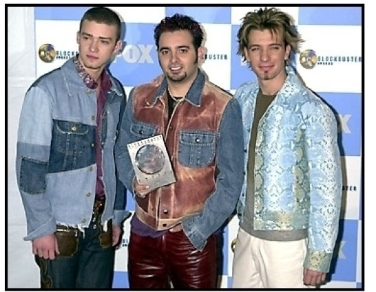 'N Sync members Justin Timberlake, Chris Kirkpatrick and JC Chasez backstage at the 2001 Blockbuster Entertainment Awards