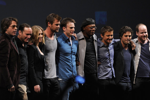 Robert Downey Jr., Clark Gregg, Scarlett Johansson, Chris Hemsworth, Chris Evans, Samuel L. Jackson, Jeremy Renner, Mark Ruffalo and Joss Whedon